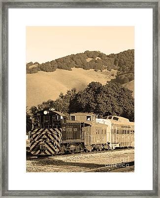 Historic Niles Trains In California.southern Pacific Locomotive And Sante Fe Caboose.7d10819.sepia Framed Print by Wingsdomain Art and Photography