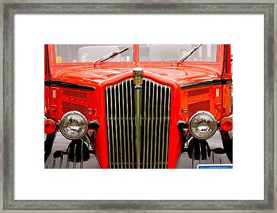 Historic Red Jammer Bus Glacier National Park Framed Print by Karon Melillo DeVega