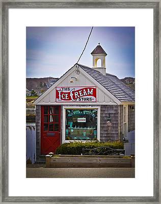 Historic Rockport Center Framed Print by Erica McLellan