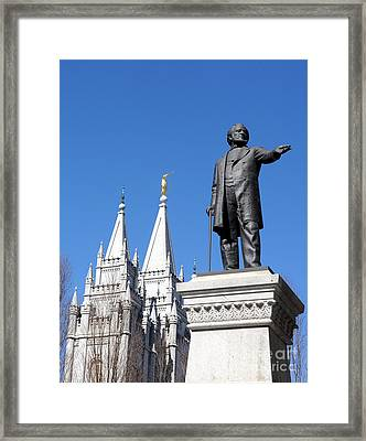 Historic Salt Lake Mormon Lds Temple And Brigham Young Framed Print by Gary Whitton