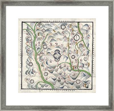 Historical Chinese Map Framed Print