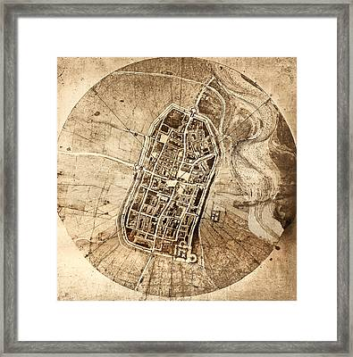 Historical City Map Of Imola, Italy Framed Print