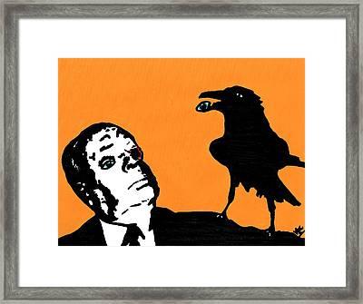 Hitchcock And Raven On Orange Framed Print by Jera Sky