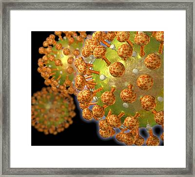 Hiv Particles Framed Print by Roger Harris