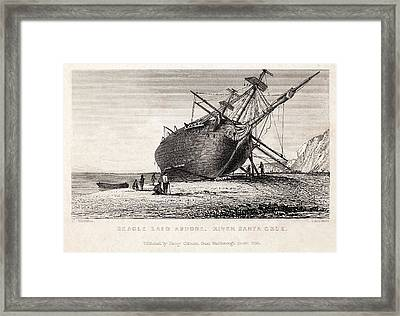 Hms Beagle Ship Laid Up Darwin's Voyage Framed Print by Paul D Stewart