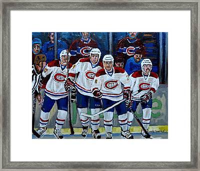 Hockey Art At Bell Center Montreal Framed Print by Carole Spandau
