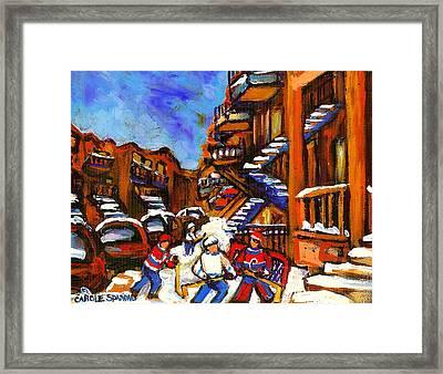 Hockey Art Boys Playing Street Hockey Montreal City Scene Framed Print by Carole Spandau