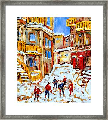 Hockey Art Montreal City Streets Boys Playing Hockey Framed Print by Carole Spandau