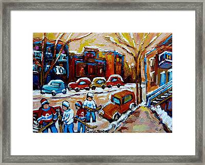 Hockey Art Montreal Staircases In Winter Framed Print by Carole Spandau