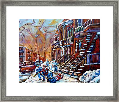 Hockey Art Montreal Streets Framed Print