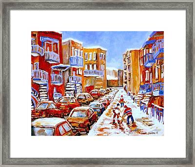 Hockey Art Streets Of Montreal Hockey Paintings Framed Print by Carole Spandau
