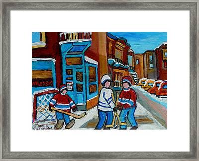 Hockey Game Corner Clark And Fairmount Wilenskys Paintings Framed Print by Carole Spandau