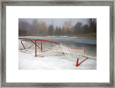 Hockey Net On Frozen Pond Framed Print by Perry McKenna Photography