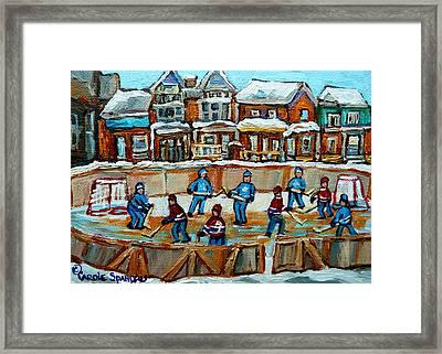 Hockey Rink Montreal Street Scene Framed Print by Carole Spandau
