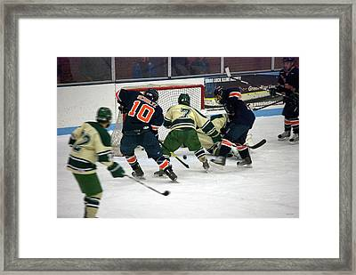 Hockey Two On Two Framed Print by Thomas Woolworth