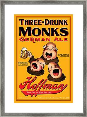 Hoffman Three Drunk Monks Framed Print by John OBrien