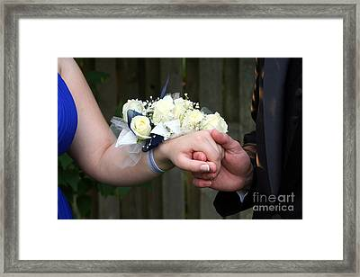 Holding Hand With Wrist Corsage Framed Print