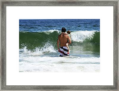 Framed Print featuring the photograph Holding On To Uncle Ryan by Maureen E Ritter