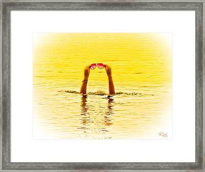 Holding The Sunnies - Yellow And Pink Framed Print by Allan Rufus
