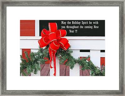 Holiday Christmas Bow Framed Print by Linda Phelps