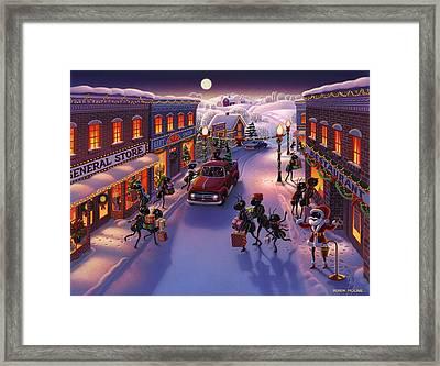 Holiday Shopper Ants Framed Print by Robin Moline