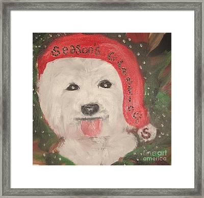 Holiday Westie Framed Print by Rachel Carmichael