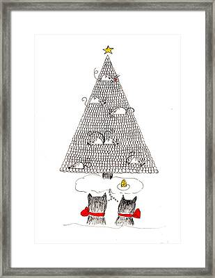 Framed Print featuring the drawing Holiday Wishes Do Come True by Lou Belcher