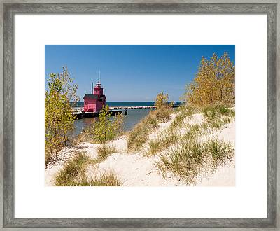Framed Print featuring the photograph Holland Mi Lighthouse by Larry Carr