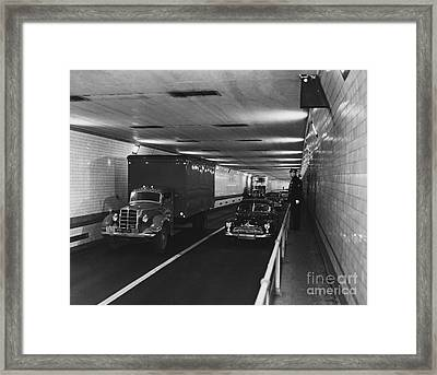 Holland Tunnel, Nyc Framed Print by Photo Researchers