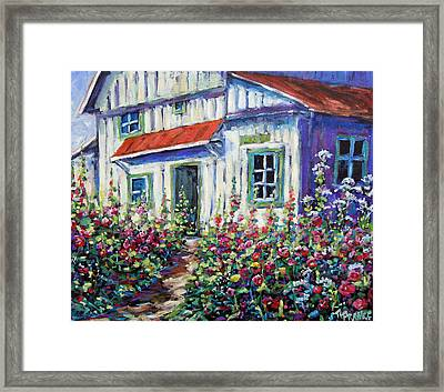 Holly Hocks And Wild Flowers By Prankearts Framed Print