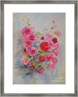 Framed Print featuring the painting Hollyhocks And Red Roses by Beatrice Cloake