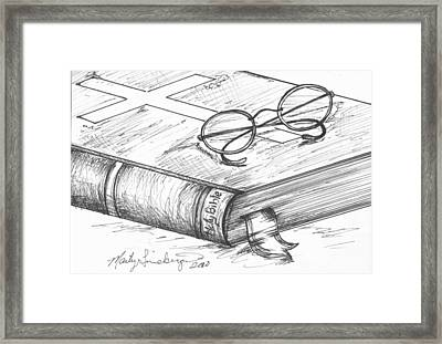 Holy Bible Framed Print by Marty Lineberger
