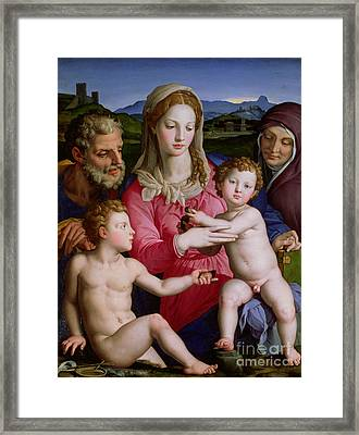 Holy Family With St Anne And The Infant St John The Baptist Framed Print by Agnolo Bronzino