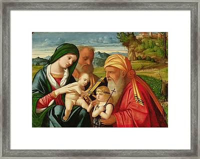 Holy Family With St. Simeon And John The Baptist Framed Print by Francesco Rizzi da Santacroce