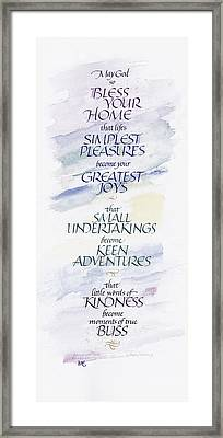 Home Blessing Framed Print by Judy Dodds