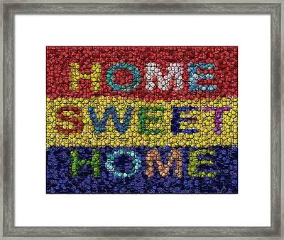 Home Sweet Home Bottle Cap Mosaic  Framed Print