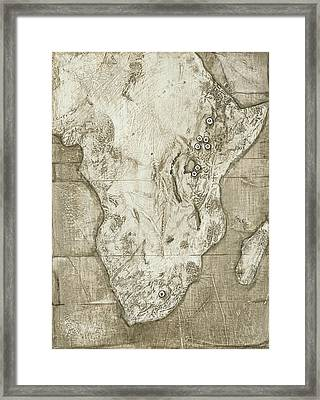 Hominid Fossil Sites In Africa Framed Print by Kennis And Kennismsf
