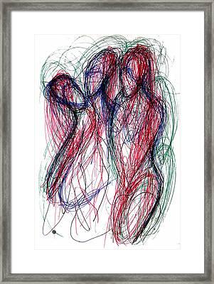 Homoline #30. Three Figures Framed Print by Alfredo Gonzalez