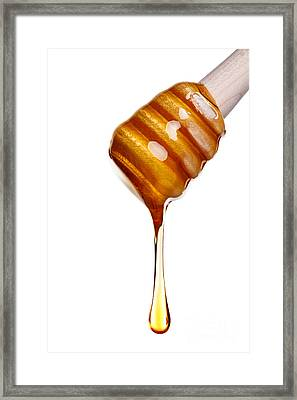 Honey Dripping From A Wooden Dipper Framed Print by Richard Thomas