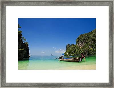 Hong Island Entrance And Longtail Boats Framed Print