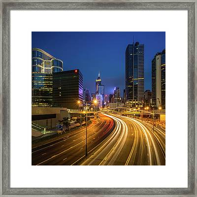 Hong Kong City Center At Night Framed Print by Coolbiere Photograph