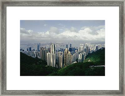 Hong Kong Island And The Bay Framed Print by Jason Edwards