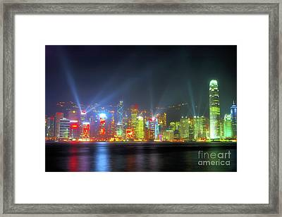 Hong Kong Night Lights Framed Print by Bibhash Chaudhuri
