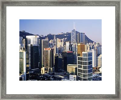 Hong Kong Skyline At Sunrise Framed Print by Jeremy Woodhouse