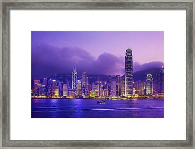Hong Kong Skyline, Victoria Harbour Framed Print by Scott E Barbour
