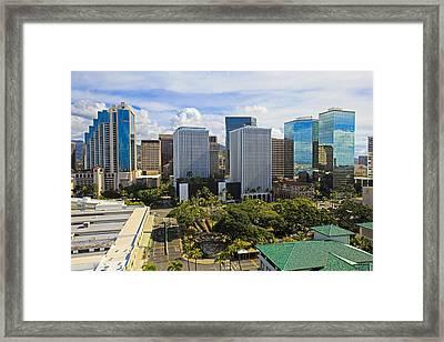 Honolulu Skyline From Aloha Tower Framed Print by Tomas del Amo