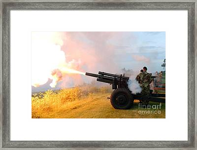 Honor Guard Members Fire A 105 Mm Framed Print by Stocktrek Images