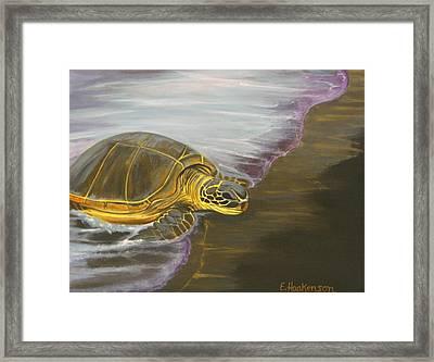 Honu On Black Sand Beach Framed Print by Elaine Haakenson
