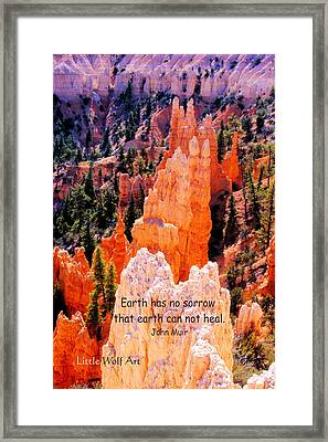 Hoodoos Of Farieland Canyon With John Muir Quote Framed Print