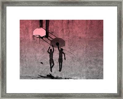 Framed Print featuring the photograph Hoop Boys by Clarice  Lakota